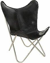 Loungesessel Butterfly Chair Lounge Sessel MILAN Design Echtleder Leder schwarz (inklusive hochwertiger Wohnzeitschrift)