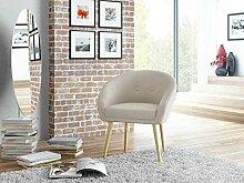 Loungestuhl, Loungesessel, Relaxstuhl, Relaxsessel, Clubsessel, TV-Sessel, Ruhesessel, Fernsehsessel, Wohnzimmersessel, Webstoff, Stoff, beige, Holz