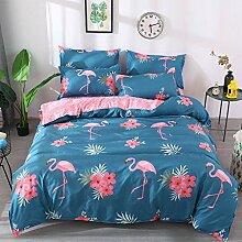 Loussiesd Flamingo Bettwäsche Set Blau & Rosa