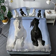 Loussiesd Kinder Kids Betten Set 3D Pferde Motiv