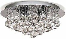 Louvra 40 W Kristall Deckenleuchte Dekorative Moderne Deckenlampe Wohnzimmerlampe mit Kristall Anhänger für Restaurant, Hotel, Wohnzimmer, Villa, Bar, Balkon, Flur usw (G9*4 Lichtquelle enthalten)