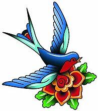 Love Bird Tattoo Kunst–Full Color Vinyl