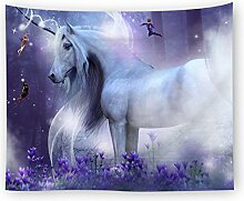 Love Cloud weißes Pferd Tapisserie Einhorn Tier