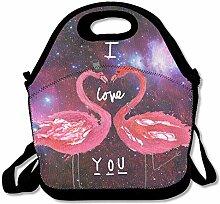 Love Flamingo Lunch Bag Tote Handbag Lunchbox For