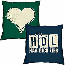 Love Herz HDL Hab Dich lieb zum Valentinstag, Muttertag, Vatertag, Kissen, Dekokissen, Geschenkidee für Sie und Ihn