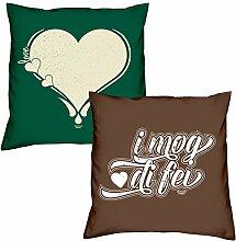 Love Herz I mog di fei zum Valentinstag, Muttertag, Vatertag, Kissen, Dekokissen, Geschenkidee für Sie und Ihn
