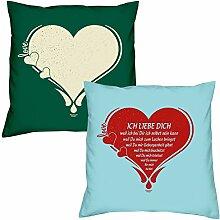 Love Herz Ich liebe Dich zum Valentinstag, Muttertag, Vatertag, Kissen, Dekokissen, Geschenkidee für Sie und Ihn