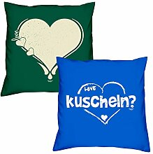 Love Herz kuscheln zum Valentinstag, Muttertag, Vatertag, Kissen, Dekokissen, Geschenkidee für Sie und Ihn