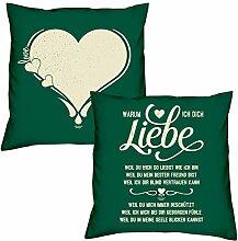 Love Herz Warum ich Dich liebe zum Valentinstag, Muttertag, Vatertag, Kissen, Dekokissen, Geschenkidee für Sie und Ihn