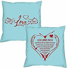 Love Ich liebe Dich weil zum Valentinstag, Muttertag, Vatertag, Kissen, Dekokissen, Geschenkidee für Sie und Ihn