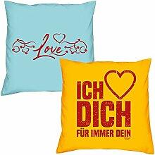 Love Ich liebe Dich zum Valentinstag, Muttertag, Vatertag, Kissen, Dekokissen, Geschenkidee für Sie und Ihn