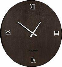 Love-KANKEI® Lautlose Wanduhr Deko Wall Clock mit Durchmesser 40cm, analog, Farbe von Nussbaumholz