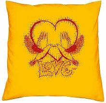 Love - Kissen mit Füllung - Geschenkidee zum Valentinstag - Valentinstagsgeschenk Romantik Geschenke für sie und ihnFarbe: gelb