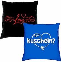 Love kuscheln Kissen zum Valentinstag Geschenkidee Geburtstagsgeschenk im 2er Pack für Sie und Ihn