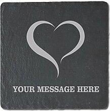 Love Nachricht personalisierbar Untersetzer aus Schiefer, 4Stück