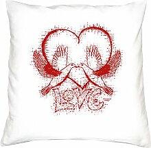 Love :: Romantische Geschenkidee zum Valentinstag - Valentinstagsgeschenk Geschenk für Frauen & Männer :: Kissen inkl. Füllung Farbe: weiss