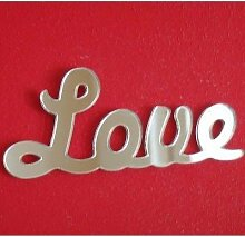 Love Script Wandspiegel, plastik, 45 x 20 cm
