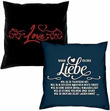 Love Warum ich Dich liebe Kissen zum Valentinstag Geschenkidee Geburtstagsgeschenk im 2er Pack für Sie und Ihn