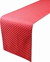 lovein Elegantes Mini Quadrat rot Tisch Läufer Polyester für Home Küche Restaurants Hochzeit und Dinner Party (35x 16035x 18335x 21035x 24035x 270cm), Polyester, Rot, 35x210cm