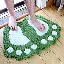 Lovely Big Feet Saugfähige Pad Fußmatte Badematten Badematte Schlafzimmer Bad Mat ( Farbe : Grün , größe : 0.4*0.6m )