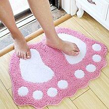 Lovely Big Feet Saugfähige Pad Fußmatte Badematten Badematte Schlafzimmer Bad Mat ( Farbe : Pink , größe : 0.48*0.67m )