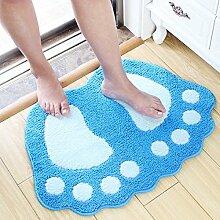 Lovely Big Feet Saugfähige Pad Fußmatte Badematten Badematte Schlafzimmer Bad Mat ( Farbe : Blau , größe : 0.48*0.67m )