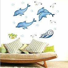 Lovely blau Delfine Wandtattoo House Aufkleber abnehmbarer Wohnzimmer Tapete Schlafzimmer Küche Art Bild Wandmalereien Sticks PVC Fenster Tür Dekoration + 3D Frosch Auto Aufkleber Geschenk