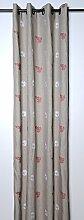 Lovely Casa R66784002 Cachemire2 -Panneau Ösenvorhang aus recycelter Baumwolle, leinenfarben/Rot, 135 x 250 cm, Weiß