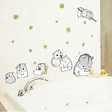 Lovely Cute Hamster Wandtattoo House Aufkleber abnehmbarer Wohnzimmer Tapete Schlafzimmer Küche Art Bild Wandmalereien Sticks PVC Fenster Tür Dekoration + 3D Frosch Auto Aufkleber Geschenk
