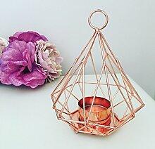 Lovely Kupfer Metall Geometrische Pyramide Teelicht Teelichthalter