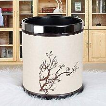LOVELY Moderne Luxus Haus Leder Doppel Mülleimer 12L Badezimmer Küche Unbeanspruchte Mülleimer, 270 * 230mm ( Color : Beige )