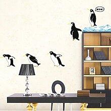 Lovely Pinguine Wandtattoo House Aufkleber abnehmbarer Wohnzimmer Tapete Schlafzimmer Küche Art Bild Wandmalereien Sticks PVC Fenster Tür Dekoration + 3D Frosch Auto Aufkleber Geschenk