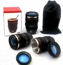 LOVELY SMILE - Isolierkanne Thermobecher Tasse in Digitalkamera / Teleobjektiv Design - für Kaffee, Tee, Kakao, Milch, Wasser, etc. - 350ml, schwarz