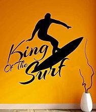 LovelyHomeWJ King of The Surf Surfer Wandaufkleber