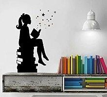 LovelyHomeWJ Mädchen lesen Bücher Magic Wall