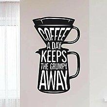LovelyHomeWJ Vinyl Wandkunst Aufkleber Kaffee pro