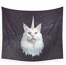 LoveTapestry Einhorn Katze Wandteppich Abdeckung