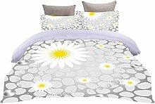 LOVEXOO Bettbezug Sets 3D Weiß & Chrysantheme