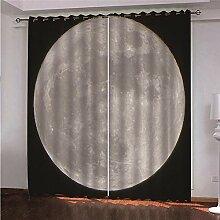 LOVEXOO Blickdicht Ösen Gardinen Mond Vorhang