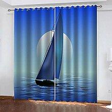 LOVEXOO Blickdichte Gardinen Blue & Sea Sailing