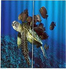 LOVEXOO Blickdichte Gardinen Meeresschildkröte