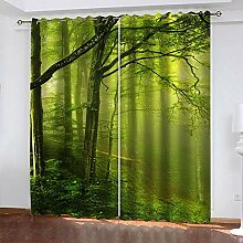 LOVEXOO Curtains Grüner Wald Vorhang Blickdicht