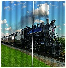 LOVEXOO Gardinen Blickdicht Dampflokomotive B140 x