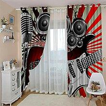 LOVEXOO Gardinen Blickdicht Musikgitarre 117B x