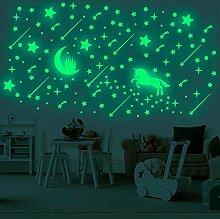 Lovhome Einhorn-Wandaufkleber, leuchtende Sterne,