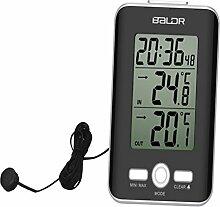 R Funk Thermometer mit Innentemperatur und Aussentemperatur Grad Uhr Uhrzeit white SODIAL