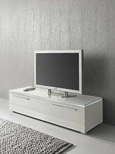 Lowboard TV Schrank 150 cm weiß Fronten Hochglanz, optional LED-Beleuchtung, Beleuchtung:Beleuchtung Weiß