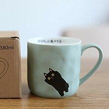 LOYWT Cartoon Kaffeetasse Weibliche Katze Becher