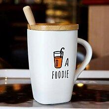 LOYWT Kreative Becher Tasse mit Deckel, Löffel,