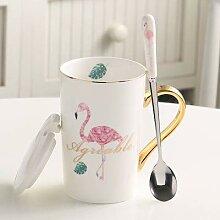 LOYWT Kreative Keramiktasse, Flamingobecher,